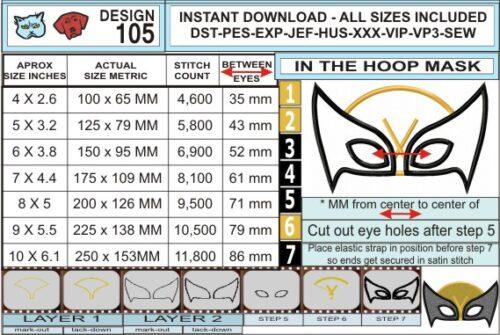 Wolverine-XMen-Mask-In-the-Hoop-Applique-Embroidery-Design-infochart