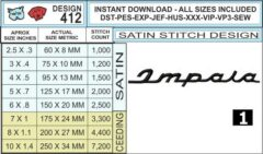 chevy-impala-script-embroidery-design-infochart