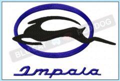 Chevy-impala-embroidery-logo-blucatreddog.is