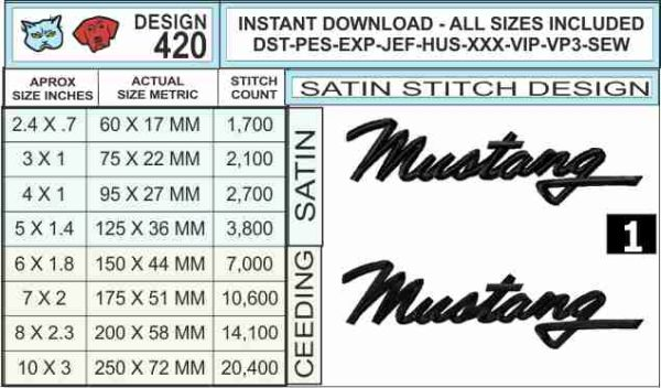 Mustang-script-embroidery-design-infochart