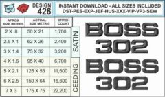 Mustang-Boss-302-Logo-embroidery-design-infochart