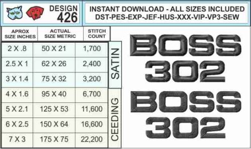 Mustang-Boss-302-Logo-embroidery-design-infochart