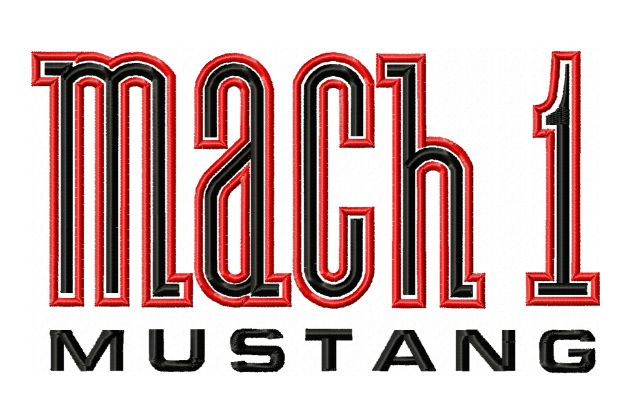 Mach 1 Mustang Logo Embroidery Design