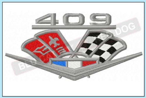 Chevy-impala-409-embroidery-logo-blucatreddog.is
