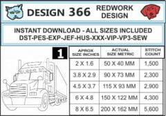 Big-rig-embroidery-redwork-design-infochart