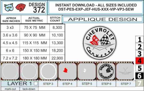 corvette-c1-embroidery-logo-specs