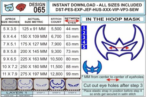 Nightwing-Mask-In-the-Hoop-Applique-Embroidery-Design-infochart