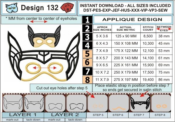 Thor-Mask-In-the-Hoop-Applique-Embroidery-Design-infochart