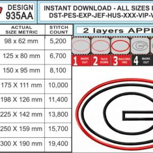 Georgia-Bulldogs-Applique-Design-infochart