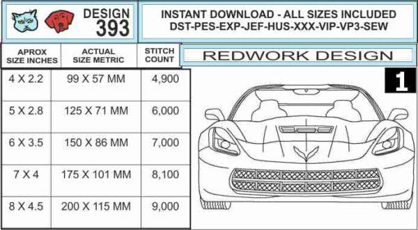 corvette-c7-front-end-redwork-embroidery-design-specs