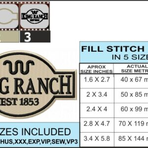 Ford-king-ranch-logo-set-embroidery-infochart