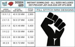 resist-fist-embroidery-design-infochart