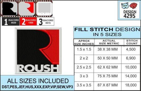 mustang-roush-embroidery-design-infochart